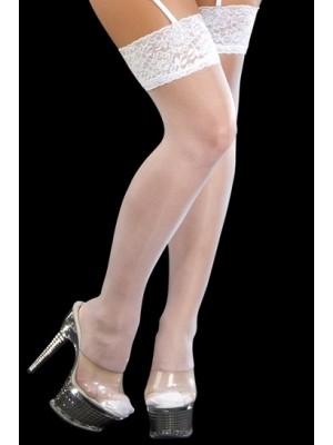 Parlak Esneyebilen Jartiyer Çorabı Beyaz