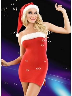 Kırmızı Straplez Fantazi Yeni Yıl Elbisesi