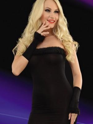 Eldivenli Transparan Siyah Gece Elbisesi