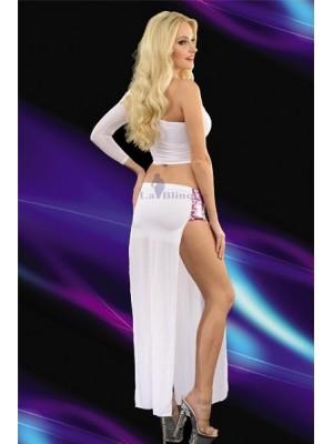 Yırtmaçlı Gece Kıyafeti Uzun Transparan